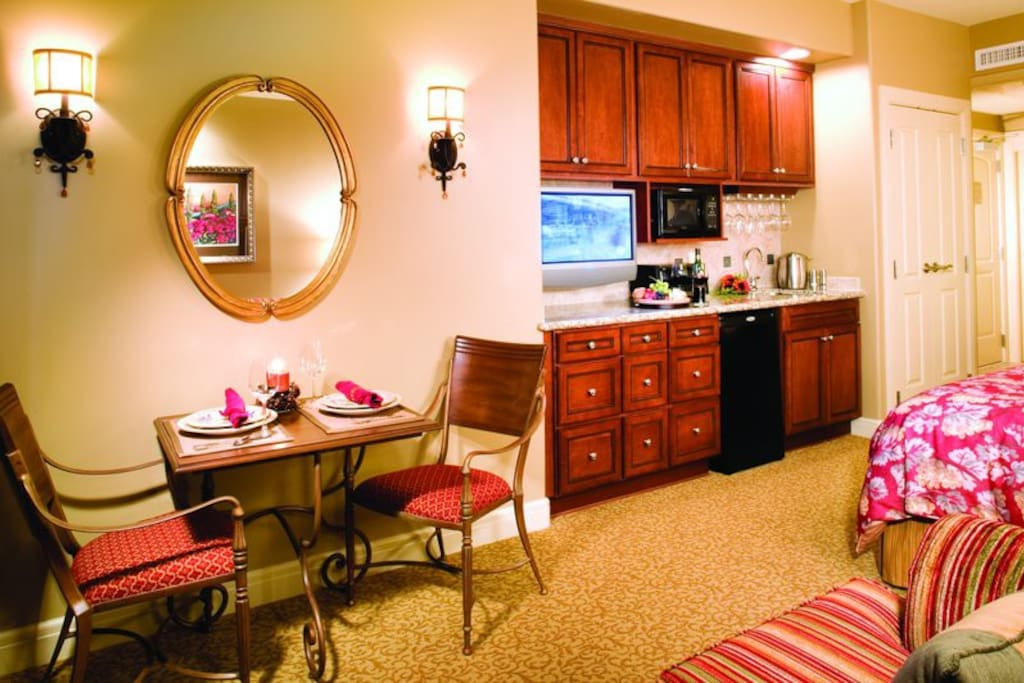 View of kitchenette area from pullout sofa
