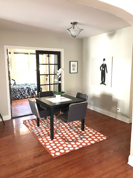 Dining nook with easy eating or work space.