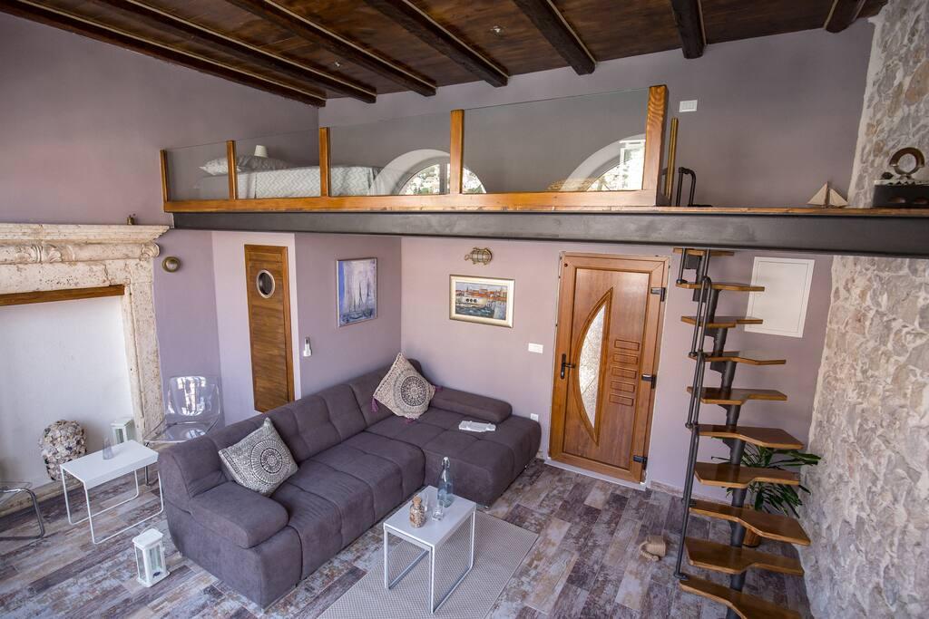 Living area + bedroom