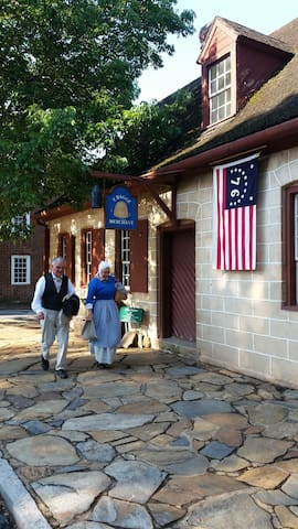 Old Salem historical village tourist attraction, about a mile from my home, is a wonderful place to walk around & the tavern is an atmospheric spot to dine - oldsalem.org