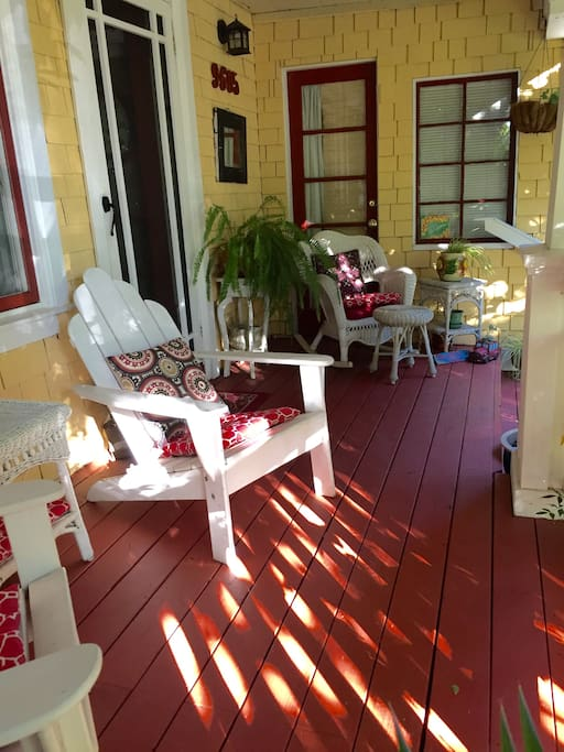 FrontPorch with  Wicker Rocker and foot stool!  Great place to relax and enjoy the view!