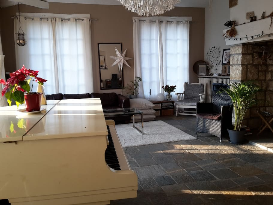 grand séjour de 45 m² avec piano quart de queue