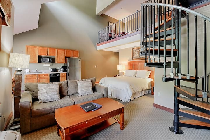 A304- Studio & Loft suite w/ standard view, has fireplace & private balcony!