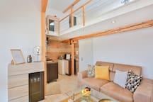 Cozy loft in the top center