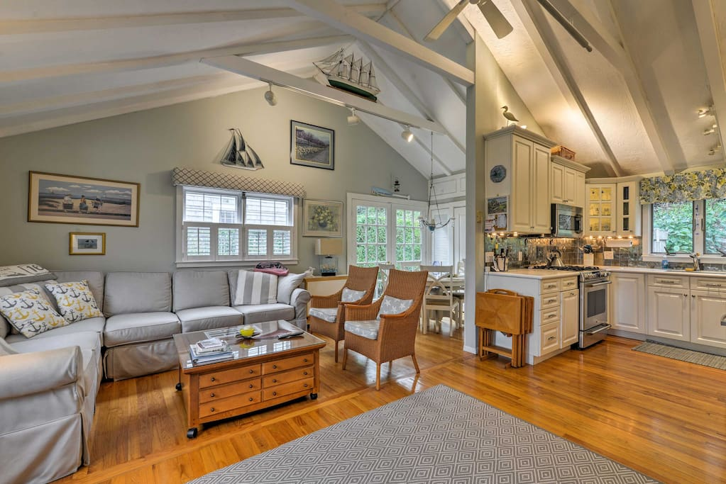 The interior is decorated with tasteful nautical decor and comfortable furnishings.