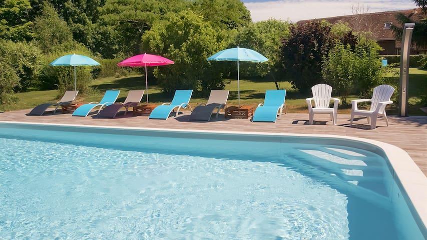 Gîte 3-5 pers.  jardin, piscine chauffée et étang