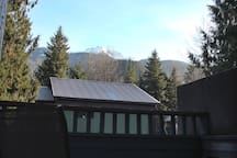 The view of Whistler Mountain off the deck of the unit.