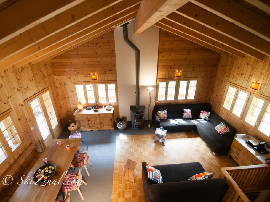 Double height, open plan living room