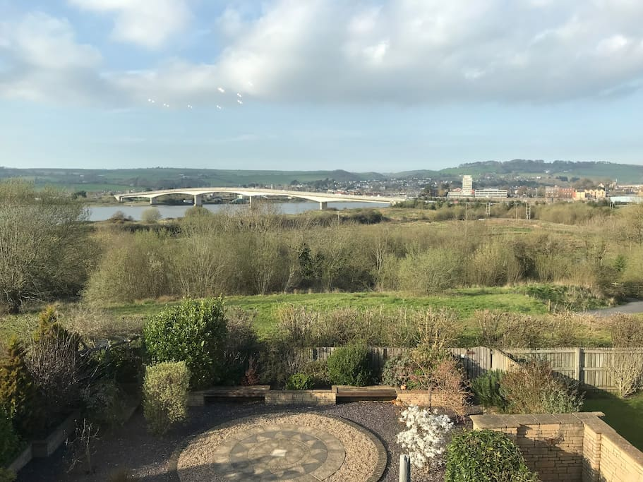 The view from the bedroom. Far reaching views of the countryside, Barnstaple town and taw estuary