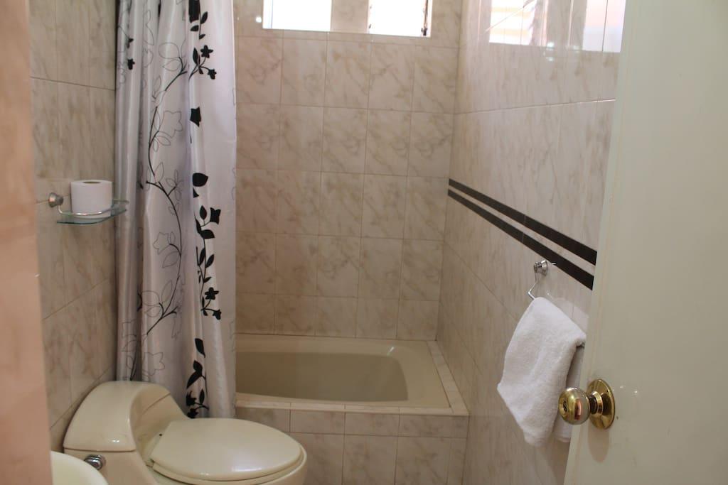 Baño ducha y tina caharacatosuite