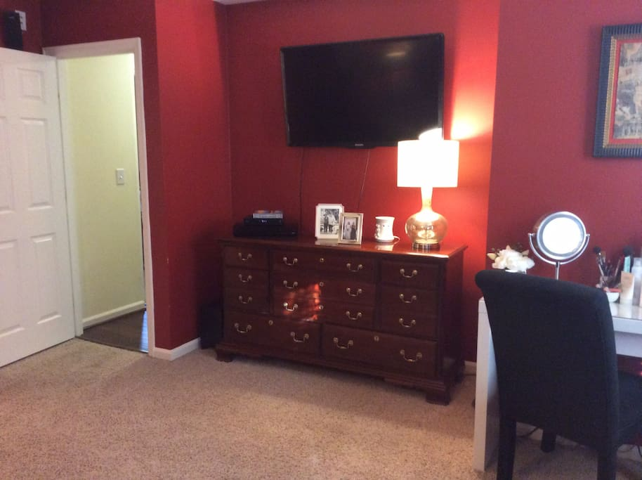 Master Bedroom TV and Surround Sound watch movies in bed!