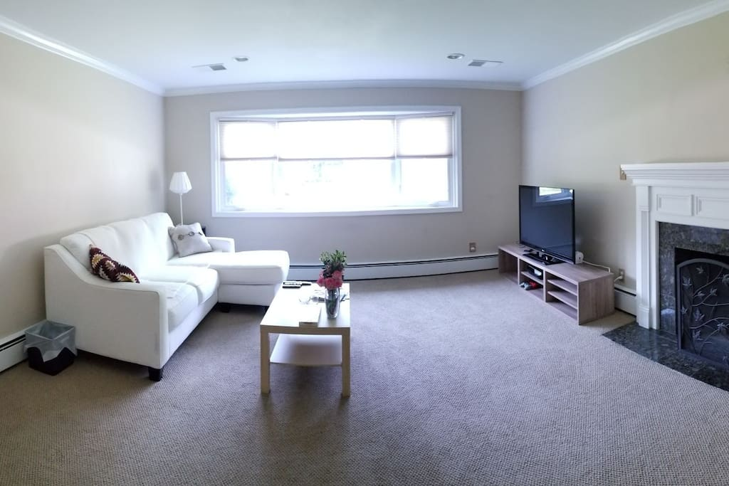 Living room with fireplace and TV. Up to 2 queen and 1 twin sized air mattresses available upon request.
