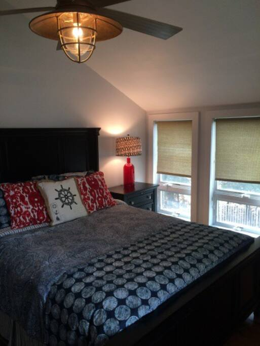 Guest bedroom with private bathroom queen size bed