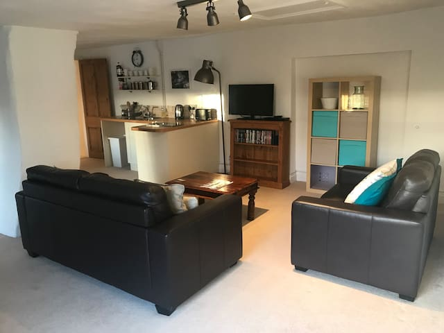 living room with two double sofas