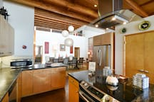 This gourmet kitchen is nicely equipped with high end appliances