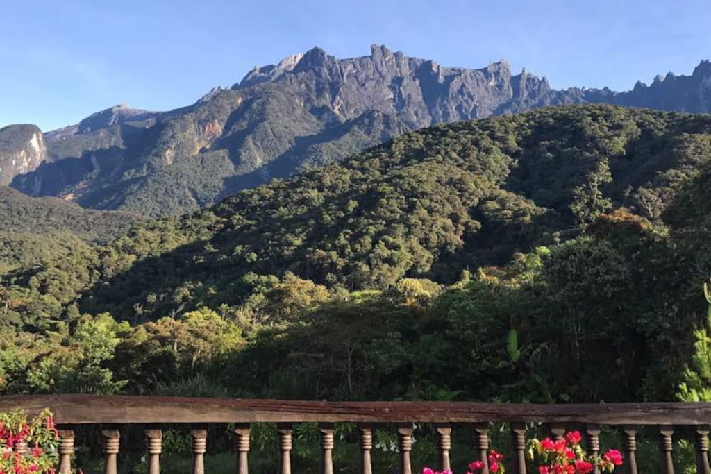 Here is Mount Kinabalu as seen from standing on our balcony on this clear beautiful morning, the outline crisp against the blue skies. Magnificent.