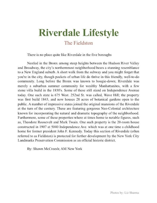 Riverdale's History