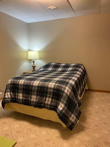Basement queen bed