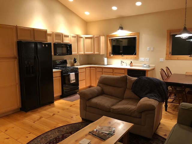 Kitchen, dining, living space
