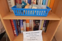 Toiletries and a book exchange in your room. Help yourself!