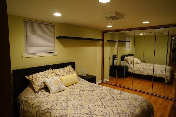 Huge, cozy  one bedroom  semi-basement apartment