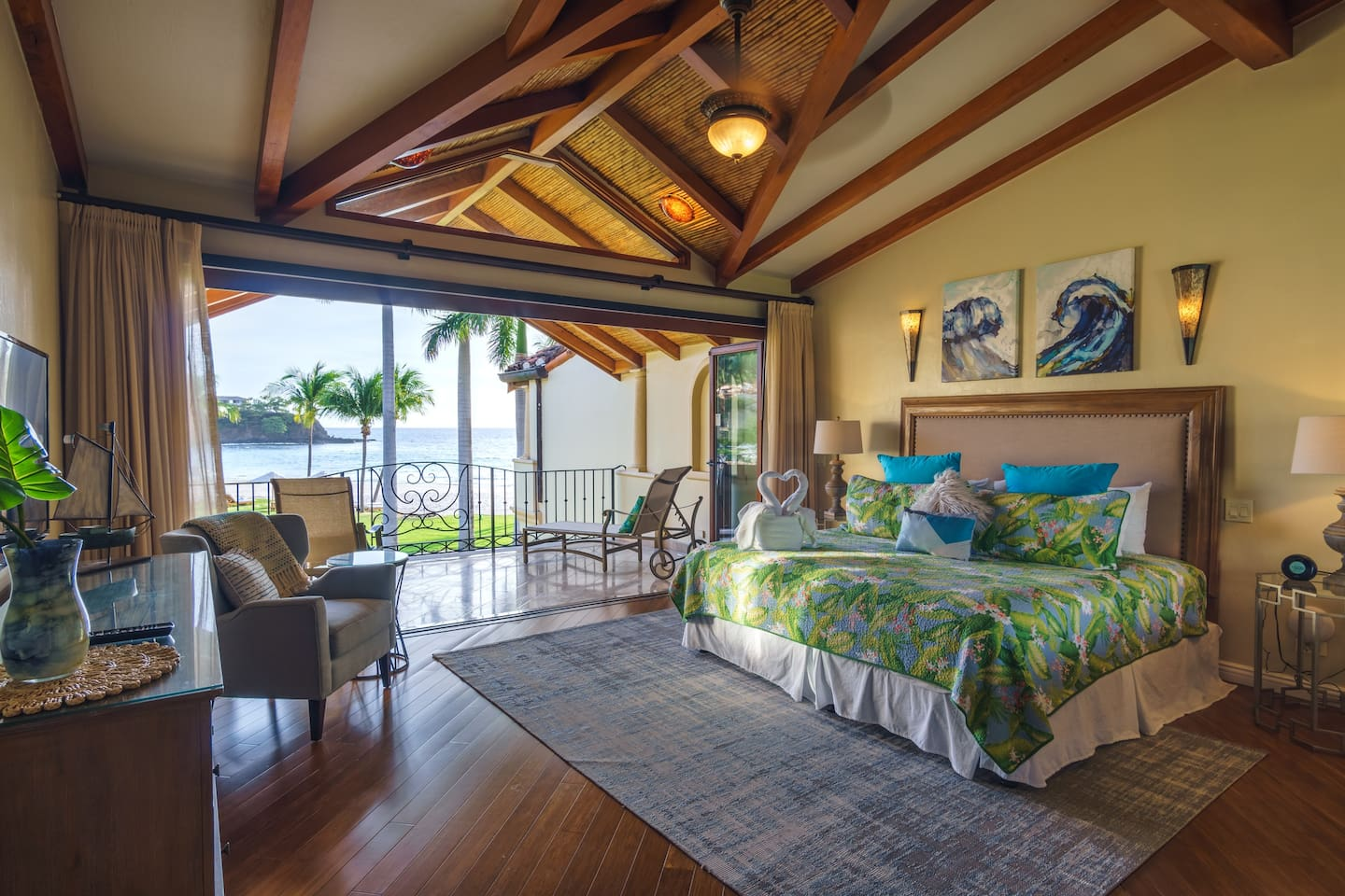 The Master Suite is spectacular with the same wall-to-wall doors and ocean view as the ground floor. Our guests repeatedly say they've never slept so well as at Villa 29! And yes, it is a massive master bedroom. Luxury awaits!
