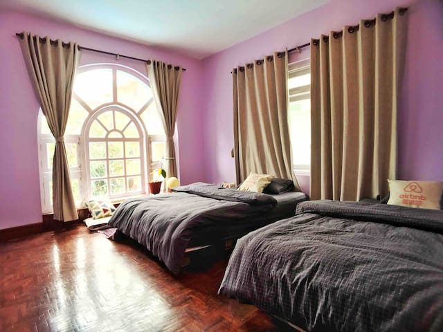 Light double beds on the garden villa  near Thamel
