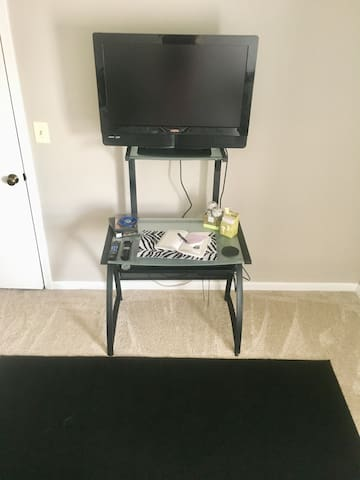 I do not have the greatest movie collection, but there is a DVD player and if you're staying for a few nights and run out of movies to watch there is a REDBOX a hop n a skip away!
