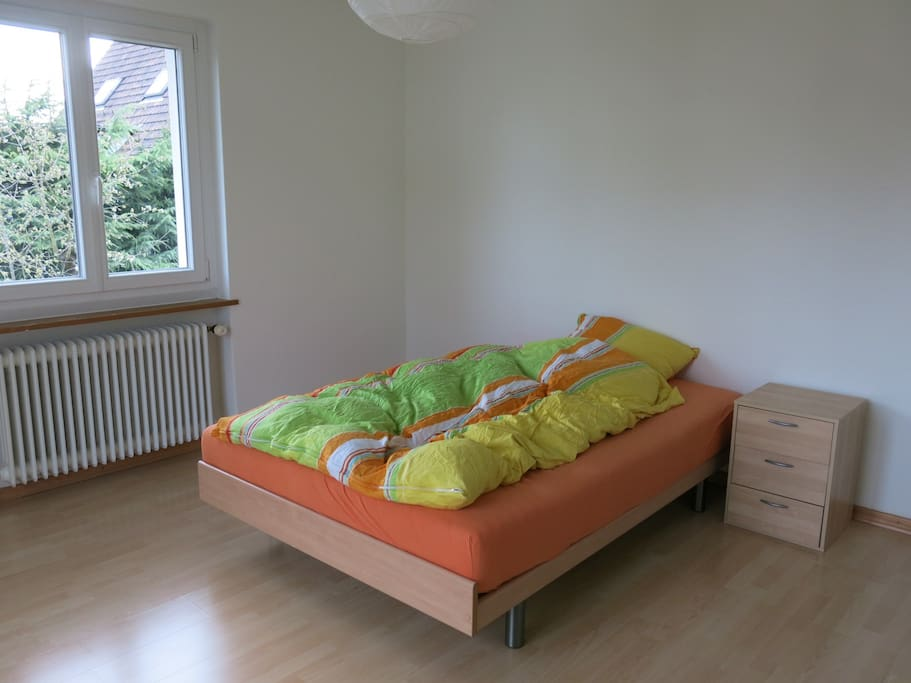 Bed in spacious room