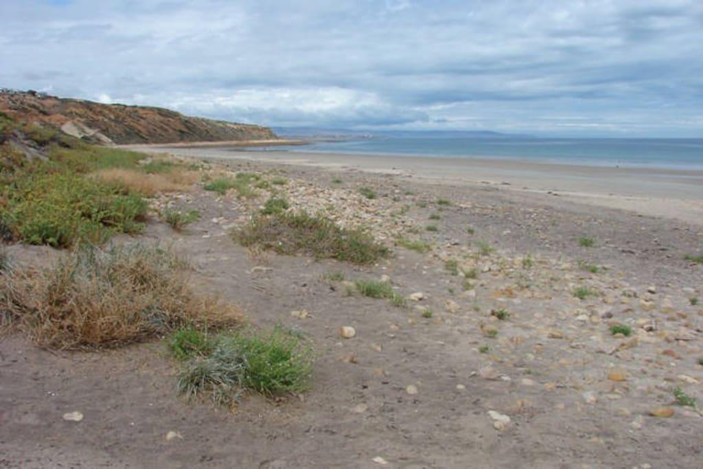 Moana Beach, 2 mins walk away