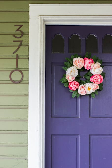 The front door welcomes you and your guests!