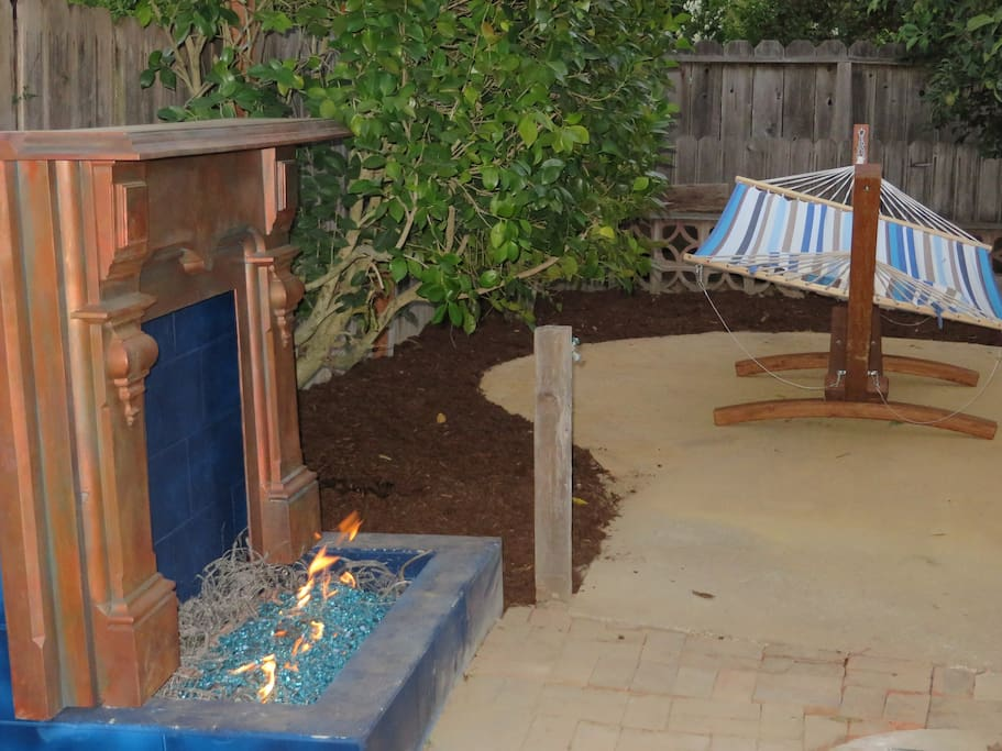Outdoor Fireplace and Cuddling Hammock