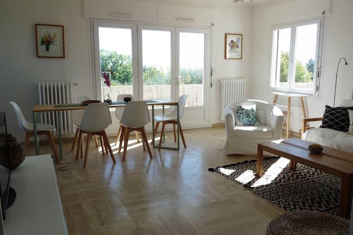 Top level of villa, bright, open view