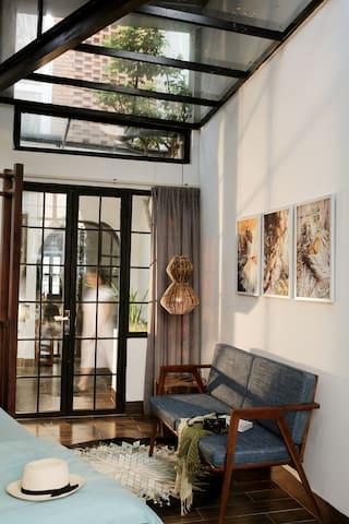 Bedroom with garden-view