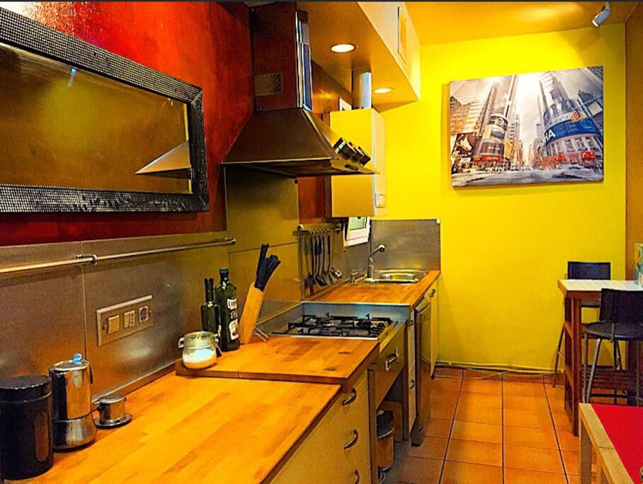 Extra-large kitchen with full of amenities and background music