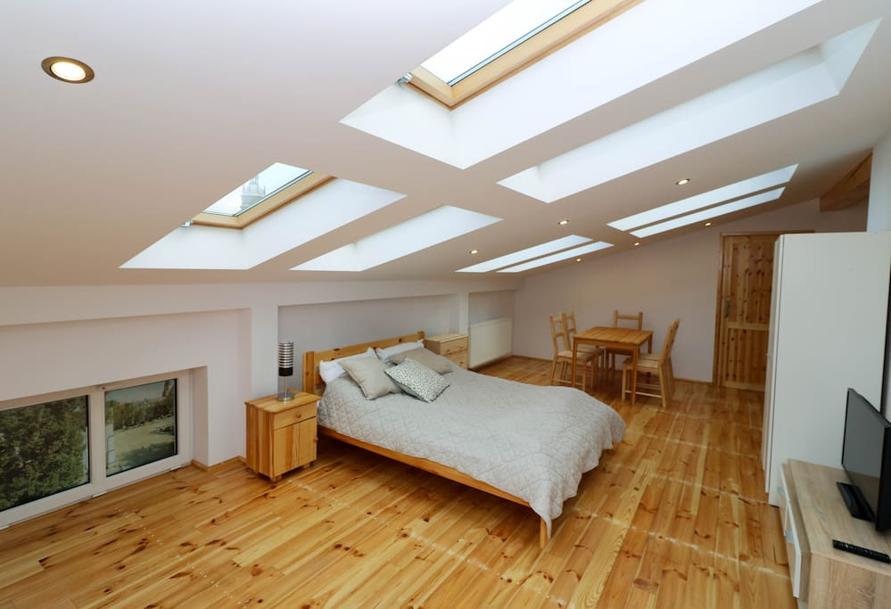 bedroom with 2 double beds with IKEA Sultan mattres