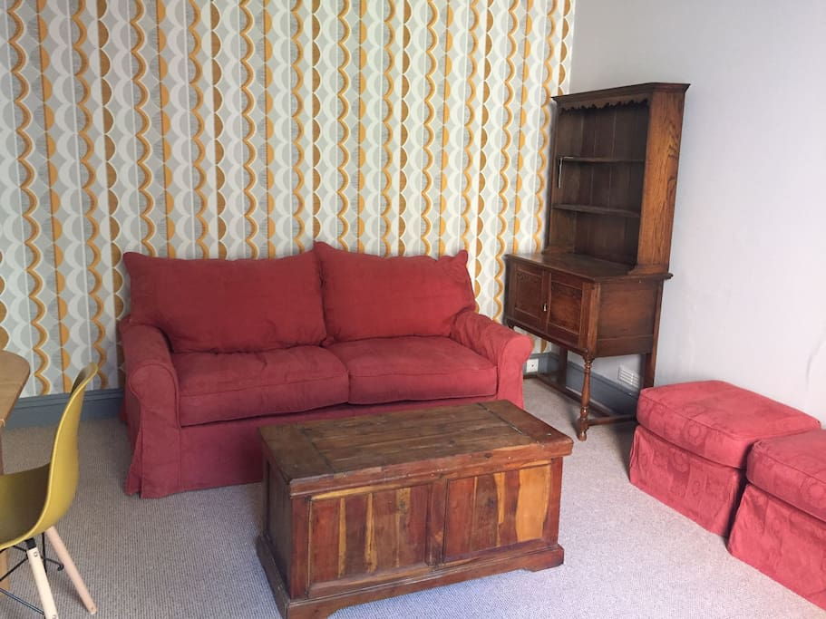 We have a very comfortable double sofa bed in lounge. Another sofa arriving shortly. We are still furnishing, ready 1/5/18