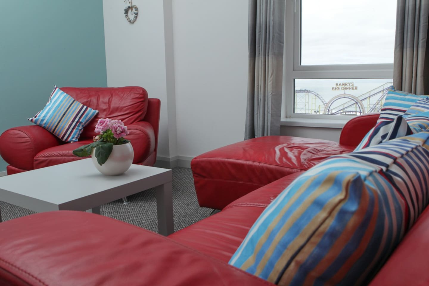 Living room with sea views overlooking Barry's,  one of Northern Ireland's leading attractions