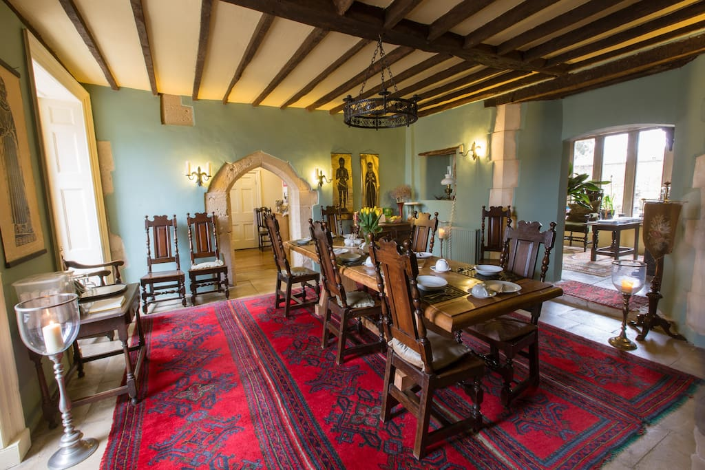 medieval dining room where breakfast is served