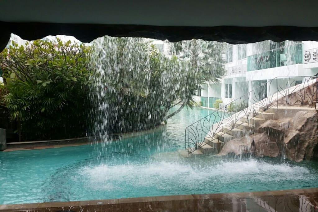 Waterfall by water slide