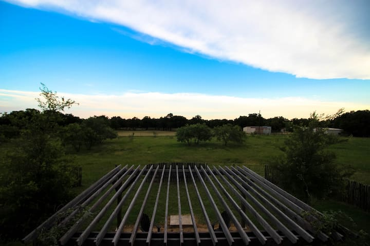 View from the upstairs balcony looking out toward the hill country