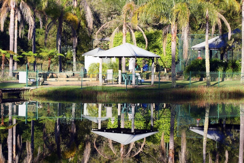 Lake with swimming pool