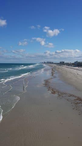 Wide sandy beach.