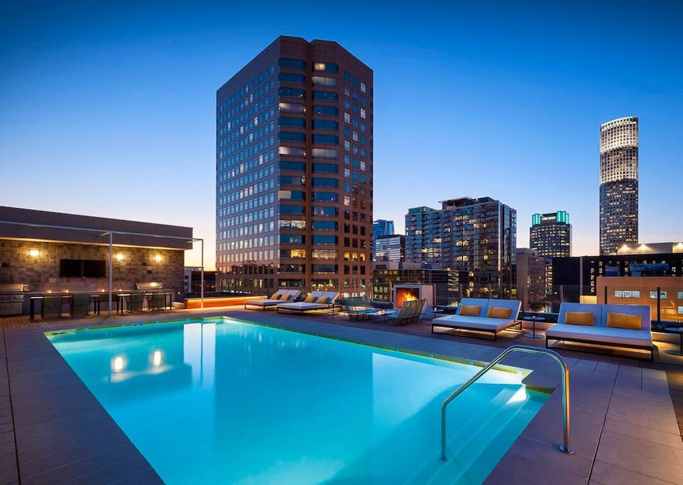 Rooftop pool with stunning views of downtown LA