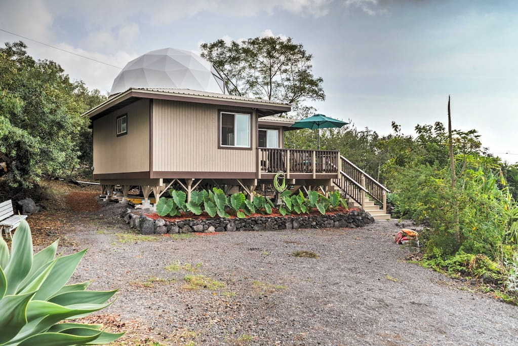 The geodesic home features ocean views and comfortably sleeps 2 guests with room for 2 more.