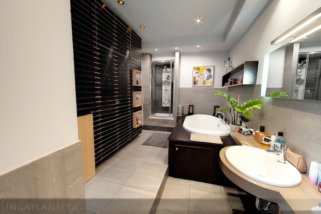 Bathroom with shower and big bathtub that comfortably fits two people