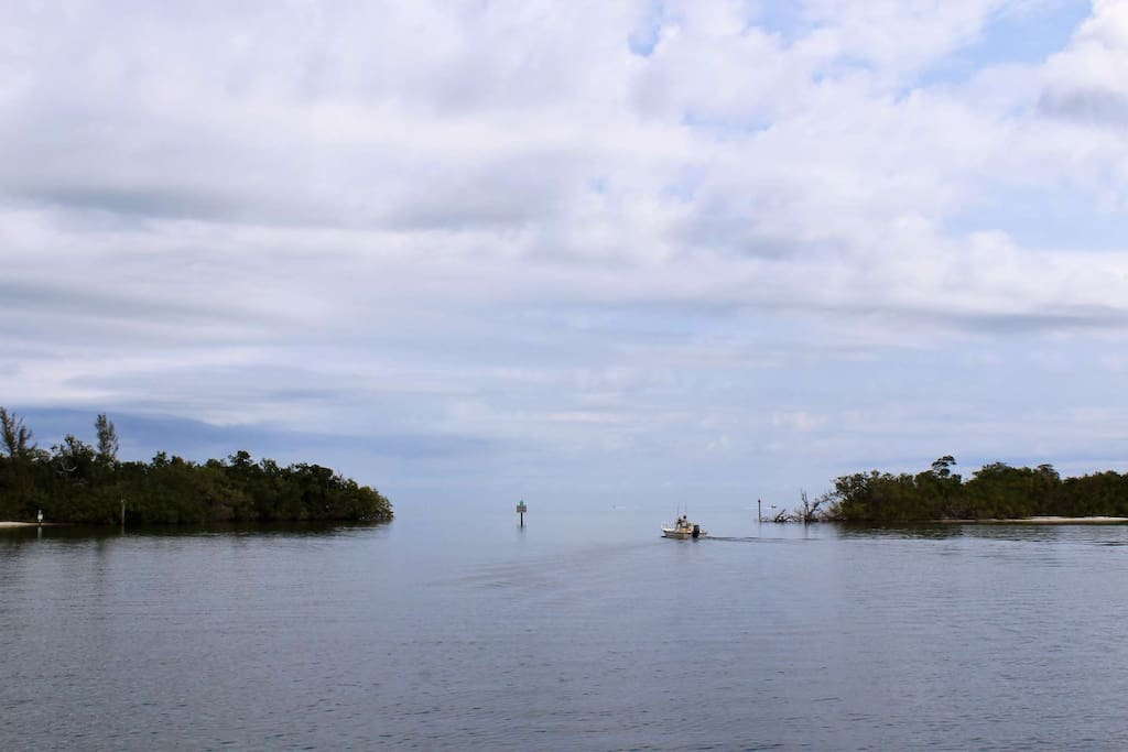 Just minutes down to the end of the canal you'll find the open waters of Charlotte Harbor and the Gulf beyond.