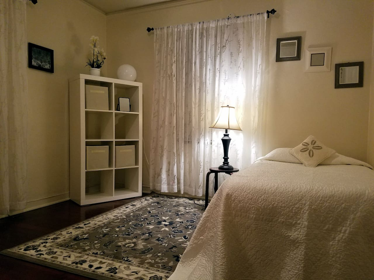 Comfortable twin size bed in a private room