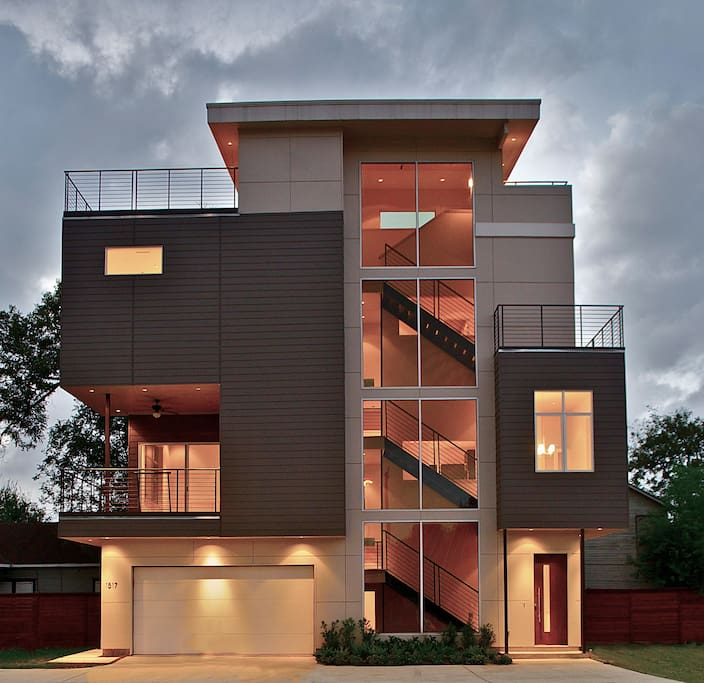 Front elevation at sunset