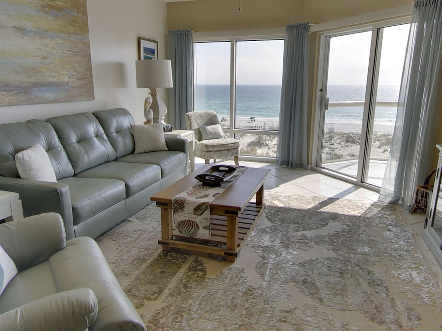Beautiful Gulf Front Views from living room, leather sofa and lazy boy recliner